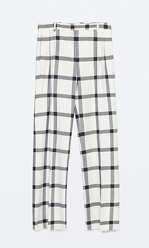 Check Zara wide leg trousers £29.99