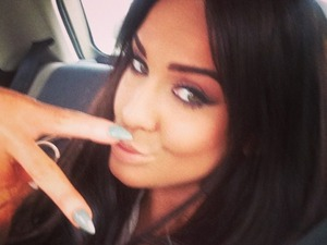 Vicky Pattison has nails painted green to match her eyes. By Samantha Cox at The Daily Nail mobile nail spa in Newcastle, 16 March 2015