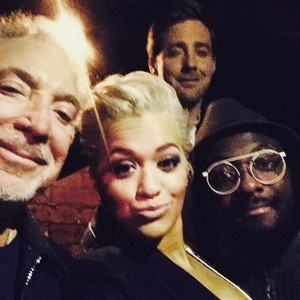 Rita Ora takes selfies with Sir Tom Jones, will.i.am and Ricky Wilson at The Voice press call, London 18 March
