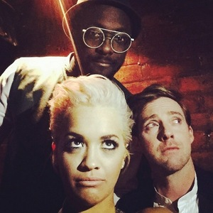 Rita Ora takes selfie with Ricky Wilson and will.i.am, The Voice press call, London 18 March