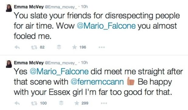 Emma McVey's tweets to TOWIE's Mario Falcone- 15 March 2015.