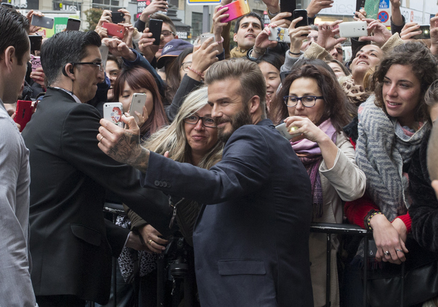 David Beckham is seen arriving at the H&M store to promote his new clothes collection on March 20, 2015 in Madrid, Spain.