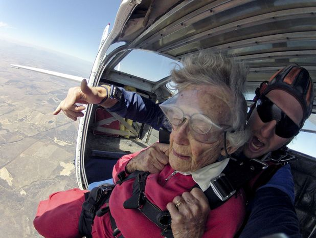 100-year-old Georgina Harwood skydives for her birthday, Cape Town, South Africa. 15/3/15