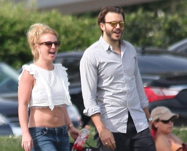 Britney Spears and Charlie Ebersol watching her sons' soccer match, Los Angeles, March 2015