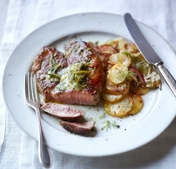 Lamb steak with anchovies and garlic, and lemon and fennel potatoes