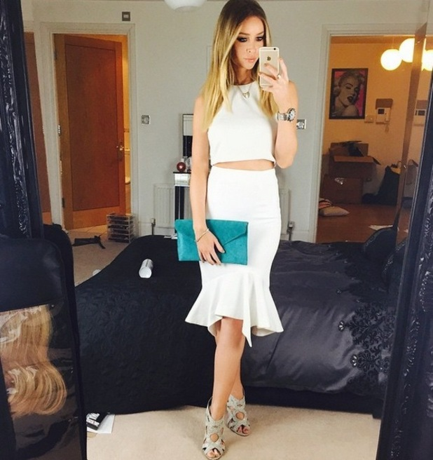 Lauren Pope wears all white for St Patrick's Day TOWIE filming, Instagram 15 March