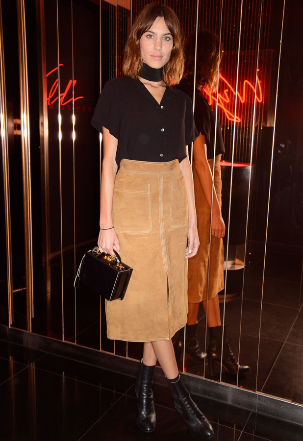 Alexa Chung at W Hotel wearing suede skirt 19th February 2015