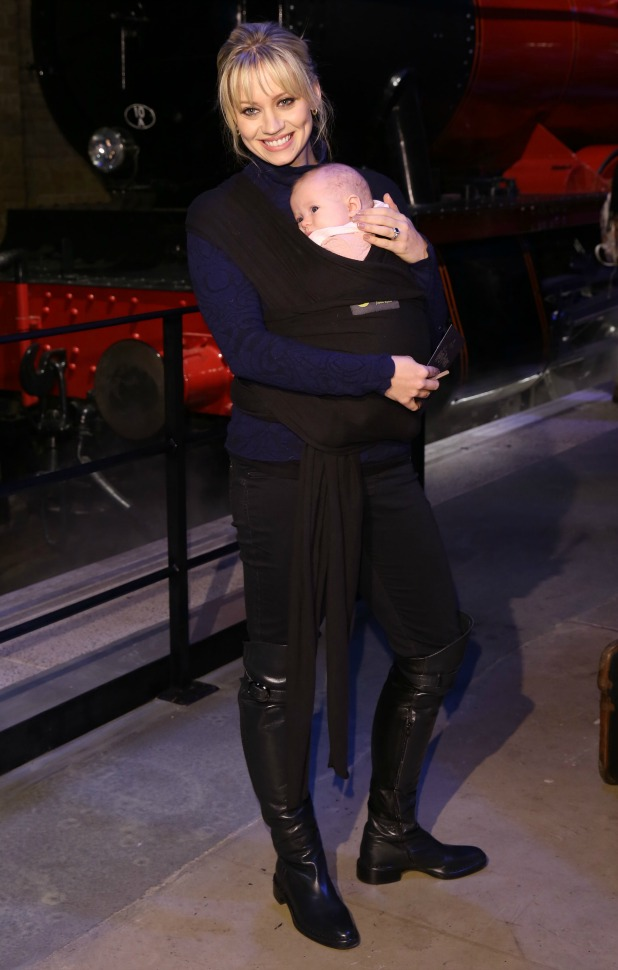 Kimberly Wyatt and baby Willow at Harry Potter Studio Tour launches Hogwarts Express and Platform 9 3/4, 17 March 2015