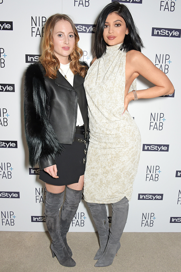 Rosie Fortescue (L) and Kylie Jenner attend the NIP+FAB + InStyle Tea Party at The London Edition Hotel on March 14, 2015 in London, England. (Photo by David M. Benett/Getty Images for NIP+FAB)