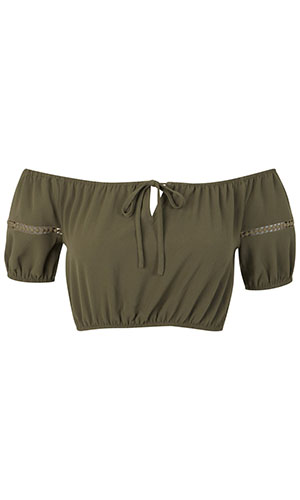 Miss Selfridge khaki gypsy style top