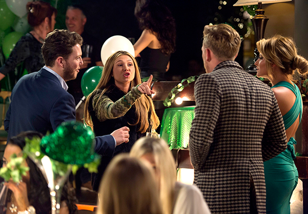 'The Only Way is Essex' cast filming, Britain - 15 Mar 2015 James Bennewith, Francesca Parman, Tommy Mallet and Georgia Kousoulou argue 15 Mar 2015