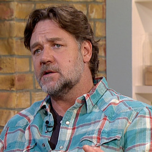 Russell Crowe promoting his new film, and directorial debut, 'The Water Diviner', on 'This Morning'. 26 March 2015.