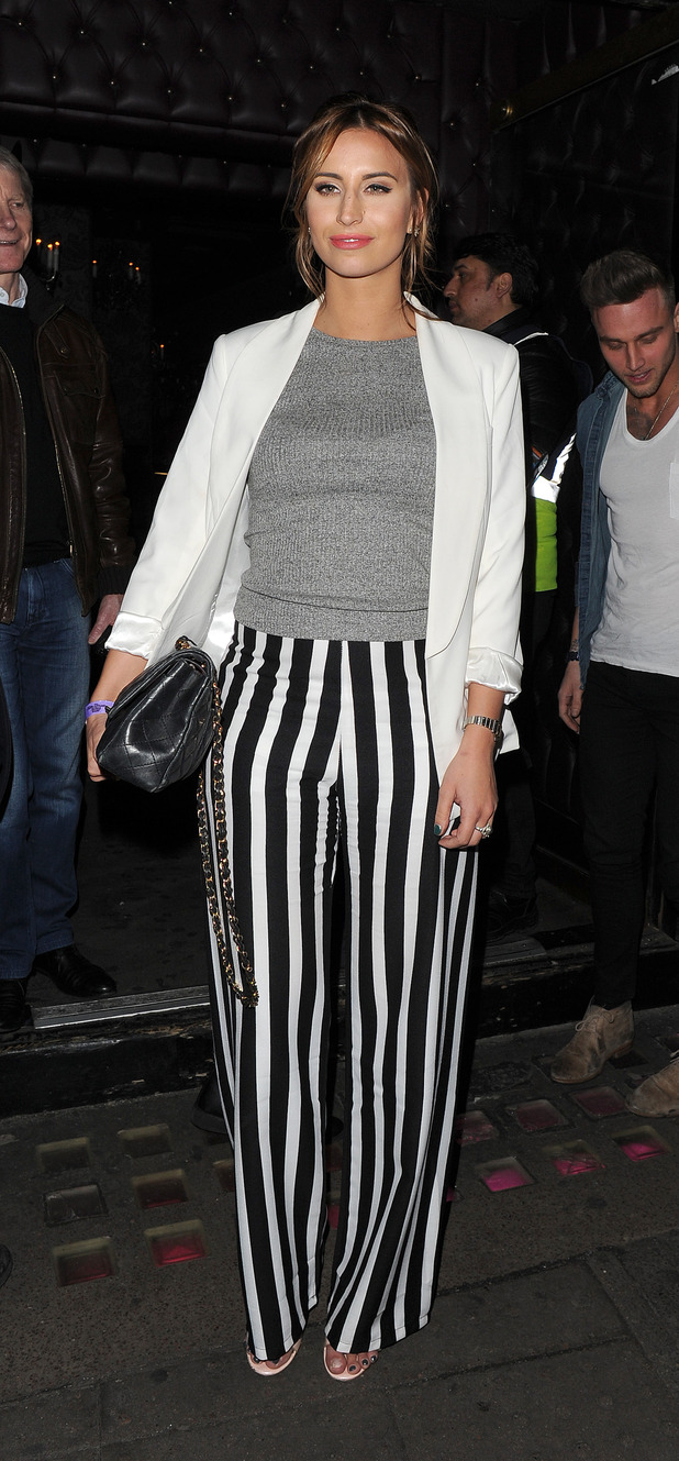 Ferne McCann works it in statement stripped trousers (26 March)