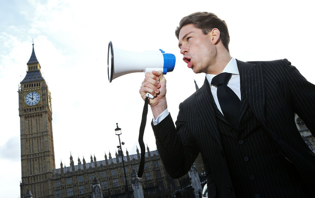 Joey promoting 'Educating Joey Essex - Election Special outside the Big Ben and the Houses of Parliament London, Britain - 24 Mar 2015.