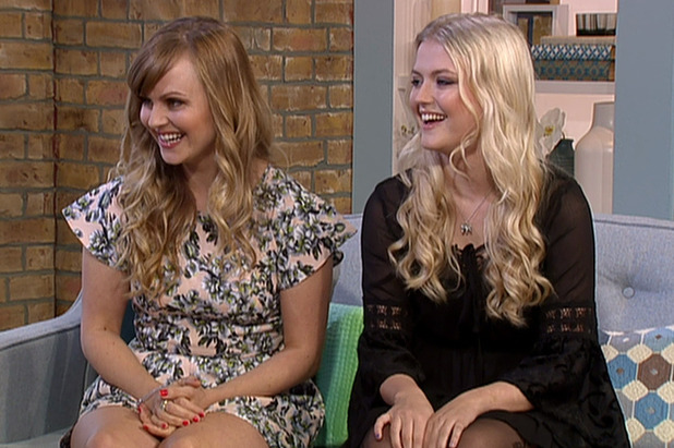 Corrie stars Lucy Fallon and Tina O'Brien on This Morning  - 26 March 2015.