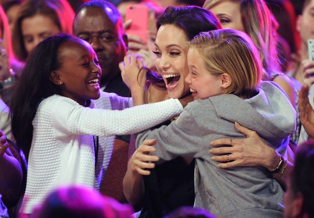 Angelina Jolie attends Nickelodeon's 28th Annual Kids Choice Awards with daughters Zahara and Shiloh, Los Angeles - 28 Mar 2015