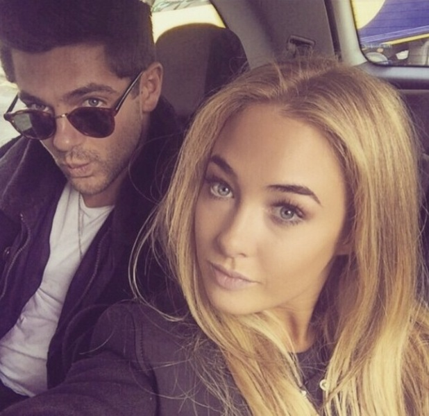 Alex Mytton takes car seflie with girlfriend Nicola Hughes - 24 February 2015.