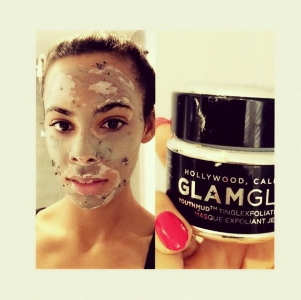 Rochelle Humes using GlamGlow Youth Mud Mask