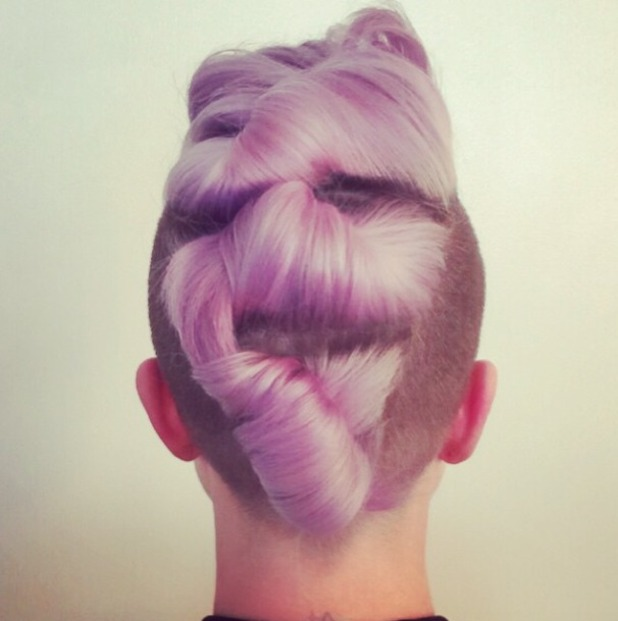 Kelly Osbourne shows off back of fabulous updo which is twisted into three rolls, by hairdresser Ryan Randall, 24 March 2015