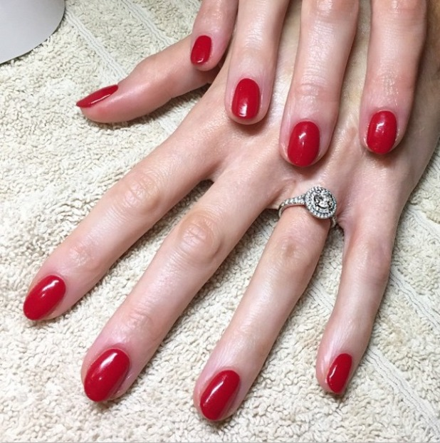 Katie Piper nails a classic red manicure, thanks to celebrity nail gurur Sophia Stylianou, 24 March 2015