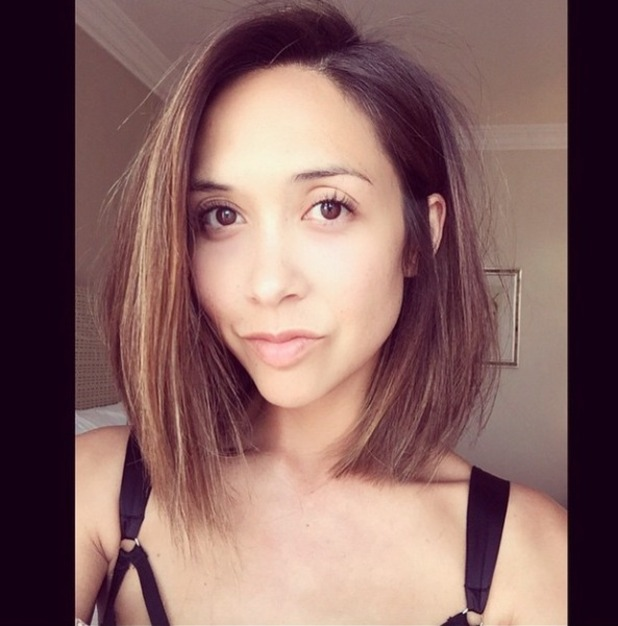 Myleene Klass has her hair cut into a self-named 'Klob', thanks to hairdresser Ben Cooke who created VB's Pob, 22 March 2015