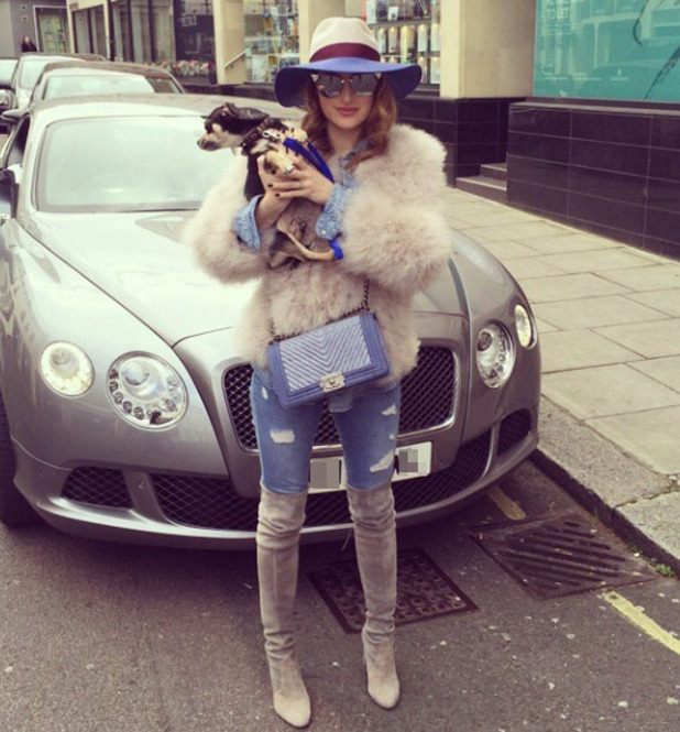 Rosie Fortescue's triple denim outfit, 22/3/15