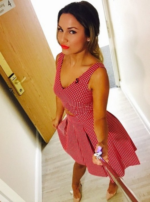 Sam Faiers wears dress from her Very collection to film Virtually Famous, Instagram 27 March