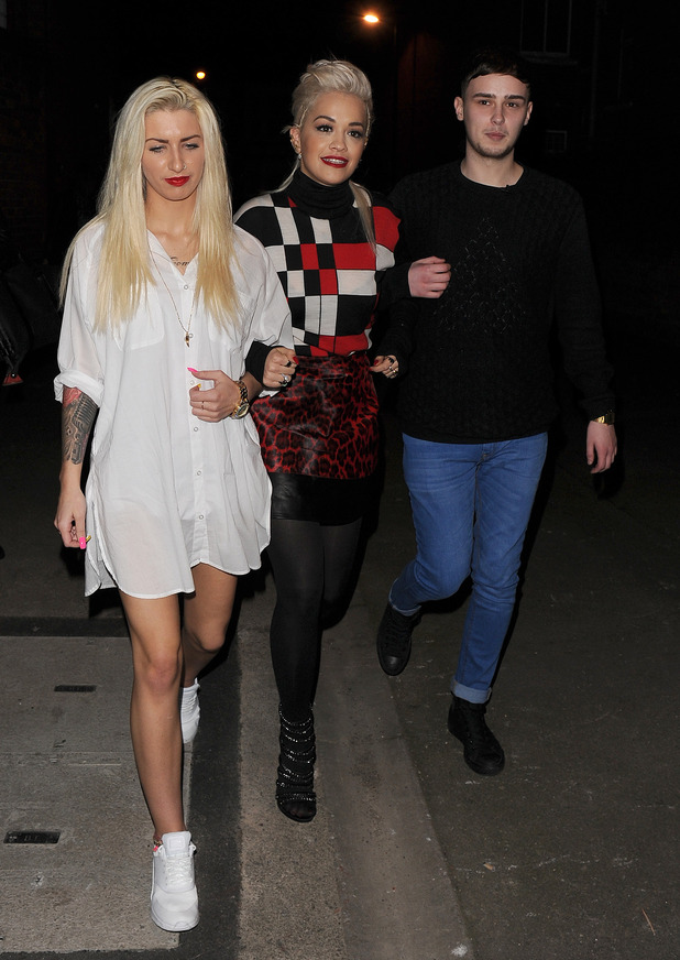 Rita Ora arrives the the Shepherds Bush Empire with her two finalists from 'The Voice UK' - Karis Thomas and Joe Woolford - to watch Charli XCX perform. 25 March 2015.