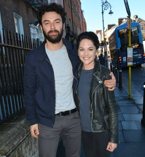 Poldark star Aidan Turner & fiancee Sarah Greene attend a panel discussion on acting at The Teacher's Club on Parnell Street as part of the Jameson Dublin International Film Festival alongside fellow Irish actor Robert Sheehan, Dublin, Ireland - 24.03.15.