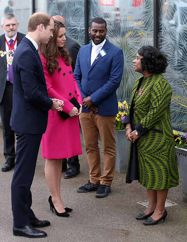 Prince William, Duke of Cambridge and Catherine, Duchess of Cambridge chat to Baroness Lawrence of Clarendon as they arrive at the Stephen Lawrence Centre on March 27, 2015 in London, England. (Photo by Chris Jackson/Getty Images)