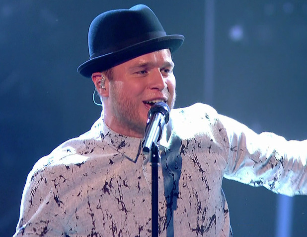 Olly Murs performing 'Seasons' during the quarter final live show of 'The Voice'. Broadcast on BBC1 HD - 21/3/2015.