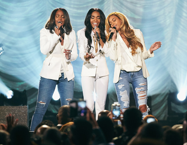 Michelle Williams, Kelly Rowland and Beyonce performing 'Say Yes' during the 30th Annual Stellar Awards at the Orleans Arena on March 28, 2015 in Las Vegas, Nevada.