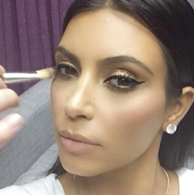 Kim Kardashian winged eyeliner from Mario Dedivanovic's Instagram