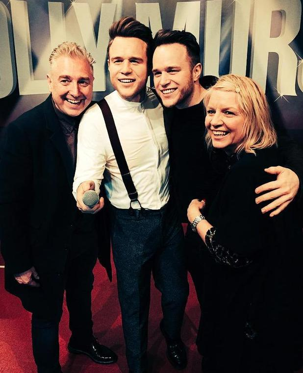 Olly Murs at the launch of his wax figure at Madame Tussauds Blackpool with his parents - 30 March 2015.