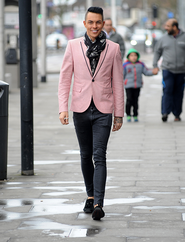 TOWIE Star Bobby Norris arrives for filming in Essex on March 29, 2015 in London, England.