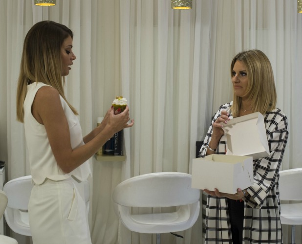 'The Only Way is Essex' cast filming, Britain - 26 Mar 2015 Danielle Armstrong with Chloe Sims at Chloe's Salon