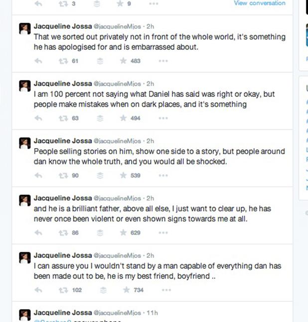Jacqueline Jossa defends Dan Osborne in Twitter messages, 31 March 2015