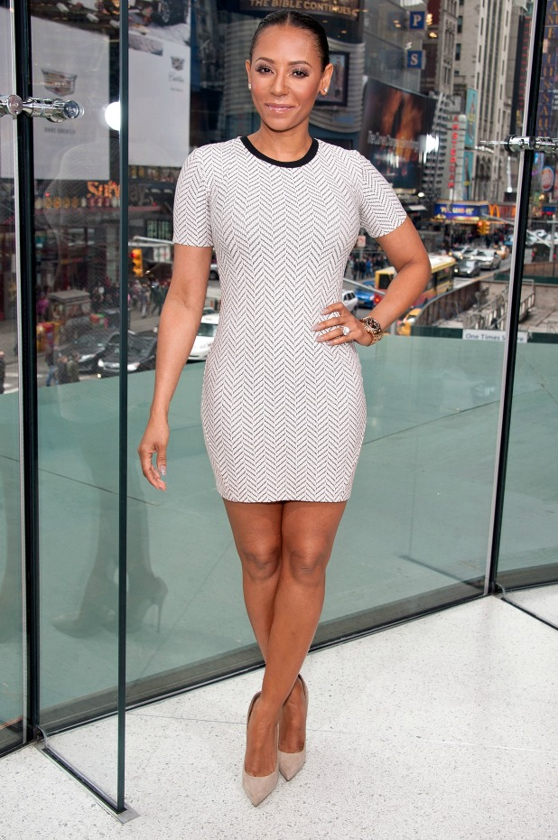 Mel B visits 'Extra' at their New York studios at H&M in Times Square on March 31, 2015 in New York City.