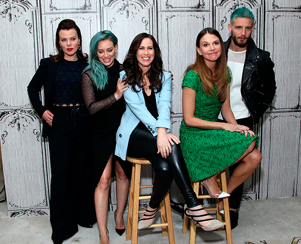 Debi Mazar, Hilary Duff, Miriam Shor, Sutton Foster and Nico Tortorella of the cast of 'Younger' visit AOL Build at AOL Studios on March 30, 2015 in New York City.