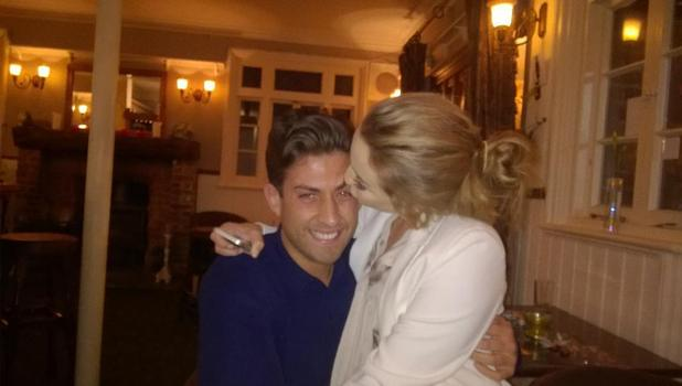 Lydia Bright and boyfriend James 'Arg' Argent celebrate after getting back together, 5 April 2015