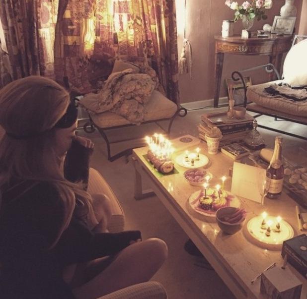 Alex Mytton treats girlfriend Nicola Hughes to cake for her birthday - 9 April 2015.