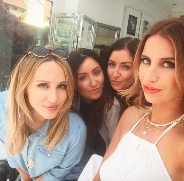 Ferne Mccann poses with make-up artists Lyndsey Harrison, Holly Stevenson and Lucy Stevenson, 7 April 2015