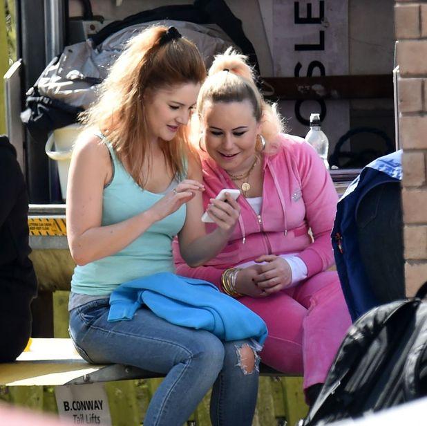 Paula Lane films Coronation Street return as Kylie Platt - 8 April 2015.