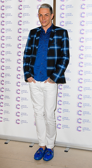 Bobby Norris attending James Ingham's Jog on to Cancer Research UK event at Kensington Roof Gardens on April 9, 2015 in London, England.
