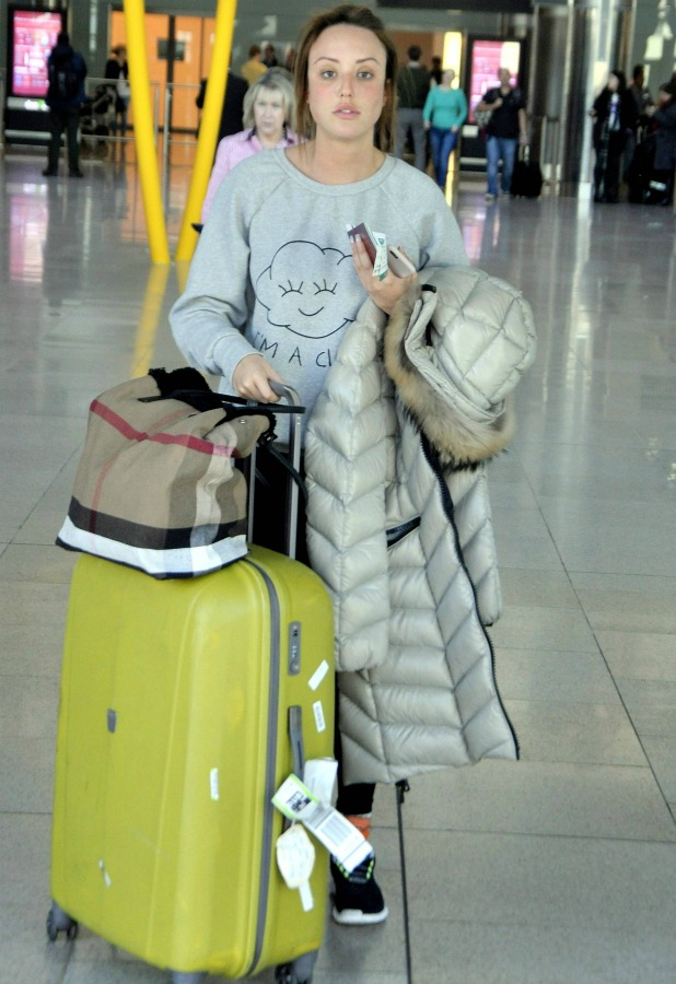 Geordie Shore' star Charlotte Crosby arrives at Dublin Airport wearing no make-up 7 April 2015