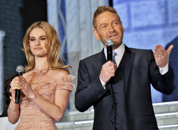 Cinderella premiere in Tokyo on 8 April 2015: Lily James and Sir Kenneth Brannagh
