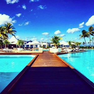 Stevie Johnson pool view on holiday, Instagram 14 April