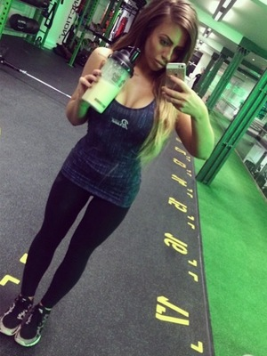 Holly Hagan takes a selfie in the gym - January