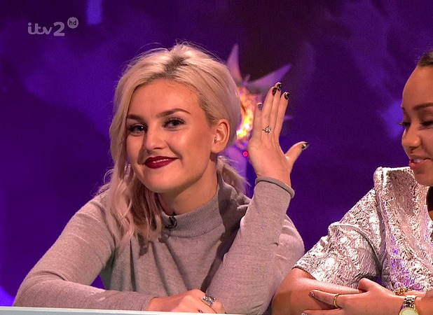 Little Mix's Perrie Edwards shows off her engagement ring from fiance, former One Direction star Zayn Malik on ITV2's panel show Celebrity Juice
