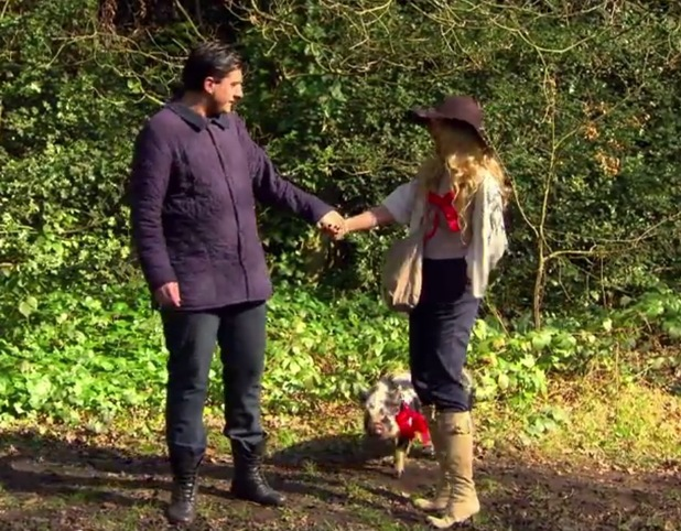 James 'Arg' Argent and Lydia Bright walk Mr Darcy The Only Way Is Essex